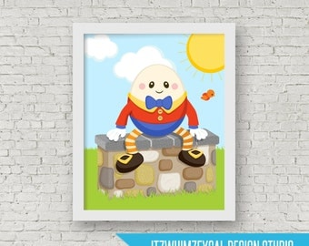 "Humpty  Nursery Rhyme Wall Art Poster Print 8x10"" Instant Download"