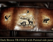 Brown Leather Wallet Men's Tri Fold with Deer Elk and Eagle, Standard 3 pocket inside all leahter, Great Gift