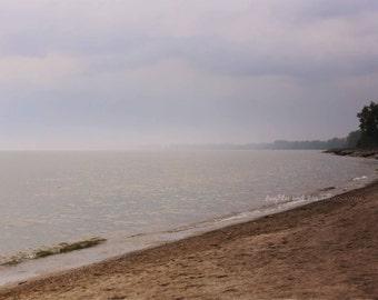 Luna Pier Coast Photo, Neutral Landscape Photography, Cottage Lake House Decor, Beach Home Decor, Wall Art, Lake Erie Michigan, Blue Gray