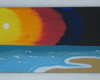 Abstract  Painting on Wood  Sunset Beach  Wall Art  Unique Large Painting Art and Collectibles  Modern Home Decor