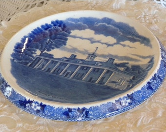 From The Vernon Shops at Mount Vernon Adams Potteries  English Staffordshire Ware Blue Transferware Trivet Of Mount Vernon