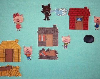 the three little pigs flannel story set.