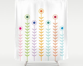 Minimalist MultiColour Flowers Shower Curtain, geometric pattern bathroom shower curtains, multi coloured flower pattern, white background