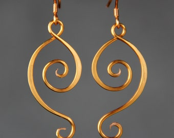 Rococo Scroll dangling wiring earring handmade US free shipping Anni Designs