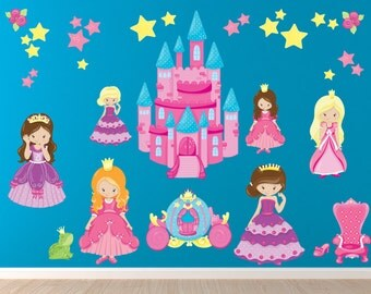 Princess Decal, Reusable Fabric Decal, Girls Ecofriendly Nontoxic No PVCs Decals, WD5
