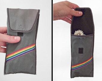 Rainbow Stripe Glasses Case 1970s Grey Velcro Closure Soft Sunglasses Keeper