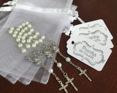 "40 wedding favors  or baptism favors 40 pcs Organza bags, 4"" x 6"" organza bag, 40 pearls mini  rosaries  favor and 40 white tags ,"