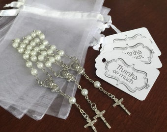 "40 wedding favors  or baptism favors 40 pcs Organza bags, 4"" x 6"" organza bag, 40 pearls mini  rosaries  favor and 40 white tags ,"