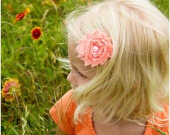 Peach Bow, Peach Hair Bow, Peach Flower Bow, Girls Hair Bow, Toddler Bows, Flower Girl Barrette, Baby Barrette, Hair Clip, Hair Barrette