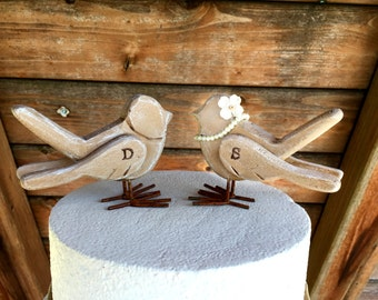 Love Birds Cake Topper / Wooden Cake Topper / Wedding Cake Topper / Rustic Bird Cake Topper