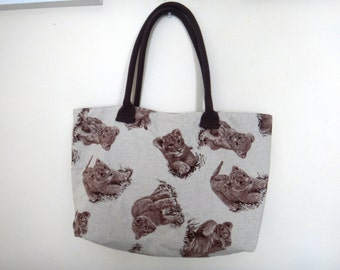 Baby lion tote bag / shopping bag