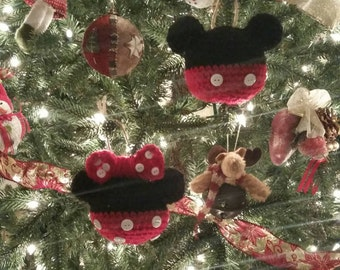 Crochet Mickey and Minnie Mouse Ornament (set of 6)