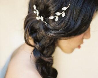 Horquilla de strass, ramita Mini pinzas de pelo, pernos de pelo de cristal, hoja pinzas de pelo, tocado de novia, estilo 4315 'Faye' hecha a la medida