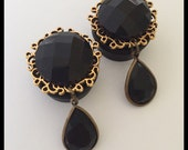 PICK SIZE Black Gem Golden Tear Drop Fancy Wedding Plugs