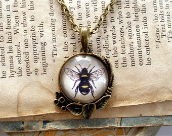 Honey Bee Necklace - Antique Insect Print Pendant in Brass - Bumble Bee