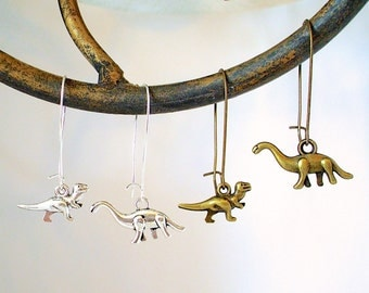 DINO SALE - Dinosaur Earrings - Dino Dangle Earrings in Silver or Brass - Brontosaurus and Tyrannosaurus Rex / T Rex