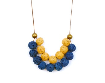 Blue And Yellow Necklace, Sponge Coral Necklace, Natural Necklace, Eco Friendly, Long Necklace, Boho