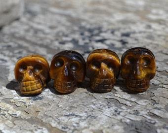 Small gold tiger eye skull beads  BD007