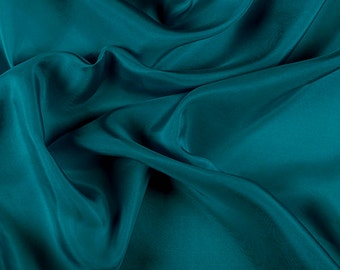 """45"""" Wide 100% Silk Crepe de Chine Teal Green by the yard"""