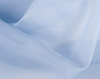 "45"" Wide 100% Silk Organza Steel Blue by the yard"