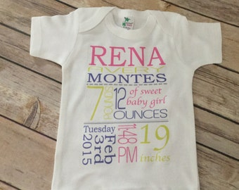 Girl Birth announcement One Piece or Shirt (Custom Text Colors/Wording)