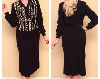 Lurex Two Piece Metallic Knit Black Sweater and Skirt by Phiippe Marques Size 6 Below the Knee Rockabilly Pinup VLV Size Small Medium