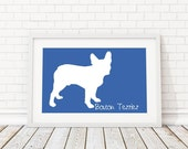 Boston Terrier Silhouette Modern Dog Print - Custom Wall Art, Personalized Dog Print, Dog Home Decor, Dog Portrait, Dog Art, Dog Lover