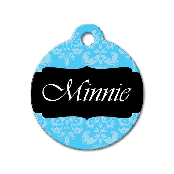 Pattern Pet Tags - Blue Fleur de Lis  - Personalized Pet Tags, Custom Pet Tags, Dog ID Tags, Cat ID Tag, Dog Tags for Dogs, Designer Pet Tag