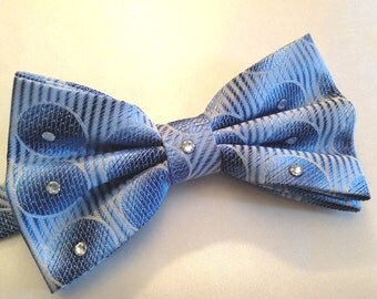 Blue Circle Bow Tie with clear rhinestones for men or women