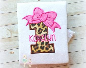 Leopard print birthday number shirt - first birthday shirt - 1st birthday leopard print number with pink bow - personalized birthday shirt