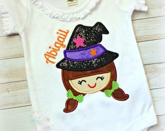 Girls Halloween shirt - Halloween witch shirt - 1st Halloween shirt or bodysuit - personalized Halloween shirt for girls - witch shirt