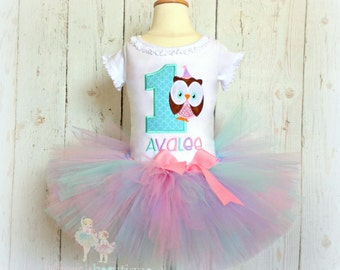 Owl birthday outfit - Baby girls first birthday outfit - 1st birthday - owl tutu outfit - owl tutu - embroidered birthday outfit
