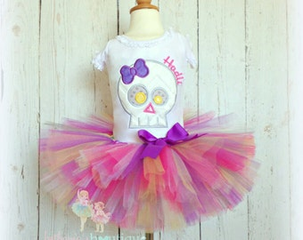 Skull Halloween costume - skull tutu outfit - skull tutu set - pink skull costume - halloween tutu - skull birthday outfit - girls costume