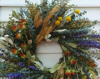 Colorful Dried Flower Wreath Yellow Purple and Orange Flowers