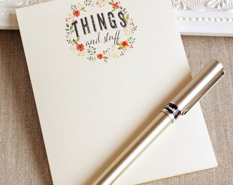 Handmade Notepad - THINGS and stuff Notepad - To Do List Pad - Watercolor Note pad - Gifts under 10 - gifts for teacher