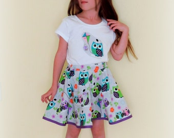 girls size 6 skirt owl outfit, girls summer dress girls size 6 birthday outfit Girls clothes skirt twirl skirt party outfit