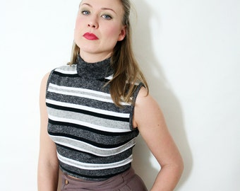 Vintage Boxy Sleeveless Striped Knit Crop Top
