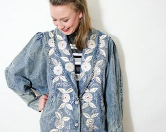 Vintage 80s Studded Sequin Acid Wash Denim Jacket
