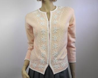 1950's Beaded Angora Cardigan Sweater // Pale Pink Angora and White Beaded Cardigan // Size Medium to Large