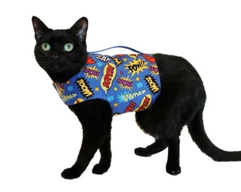 Comics Cat Harness-Cat Clothes-Blue Cat Harnesses-Cat Clothing-Clothes for Cats-Harnesses for Cats-Cat Jacket-Cat Coat-Cat Vest