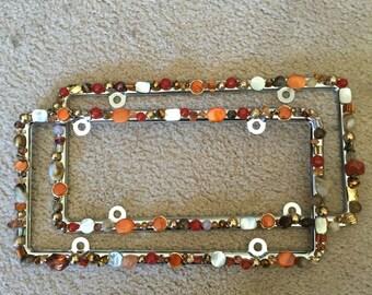 Bling License Plate Frame Burnt Orange/Peach/Copper/Brown/Bronze/Gold Beaded #A228749590