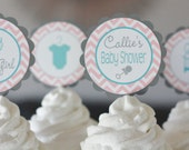 12 Baby Shower Pink Grey & Aqua Turquoise Chevron Bodysuit One Piece Cupcake or Cake Toppers - Ask About our Party Pack Sale