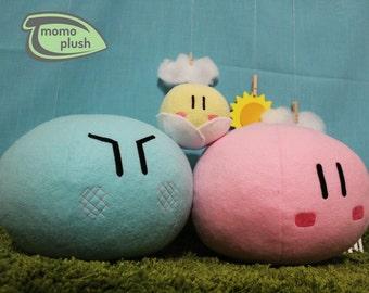 Two Large and One small Clannad Dango Family Plushies - Dango Daikazoku Plush - Stuffed Plushy Handmade Fiber Only