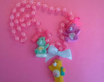 Care Bear Necklace Pendant Jewelry Cute Girl Teen Pink Yellow Purple Ooak Gift Toy Doll Animal Rave Birthday Share Wish