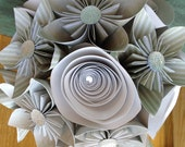 Pale Green, Gray and Cream Bridal Paper Flower Bouquet