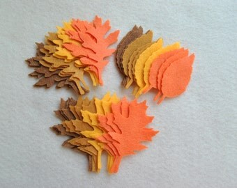 36 Piece Die Cut Felt Leaves, Style No. 2, Tattered Leaves, Fall Colors