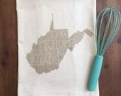 "West Virginia ""country roads"" Flour Sack Tea Towel"