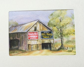 Old Barn Greeting Card with my matted print that can be framed.  3 1/2 x 5 inch print in a 5x7 inch folded greeting card.