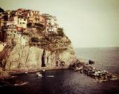 Cinque Terre Photograph, Italy Wall Art, Manarola, Travel Photography, Italian Riviera Village, Seaside, Houses, Nautical Home Decor, Europe