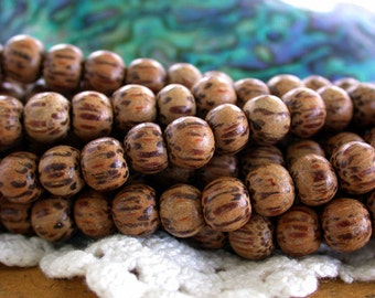 7mm Palmwood Beads, Wood Beads, Natural Wood Beads, Natural Beads NAT-260